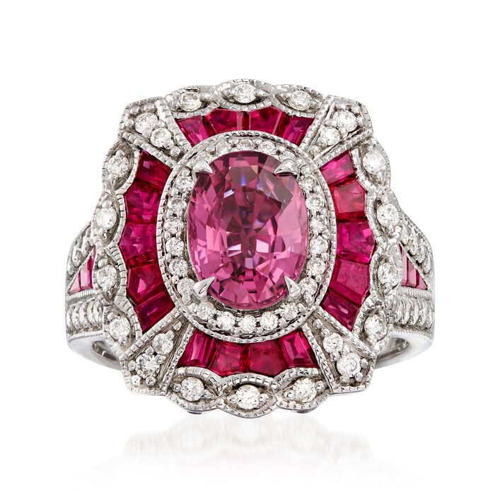 1.50 Carat Pink Sapphire and 2.80 ct. t.w. Ruby with .57 ct. t.w. Diamond Ring in 14kt White Gold. Size 7