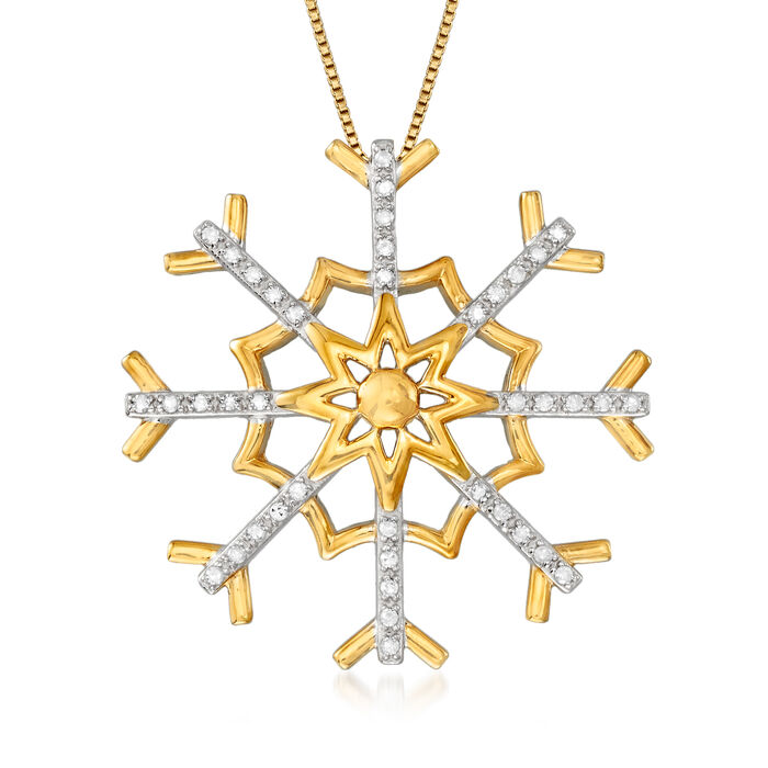 .25 ct. t.w. Diamond Snowflake Pendant Necklace in Sterling Silver and 18kt Gold Over Sterling