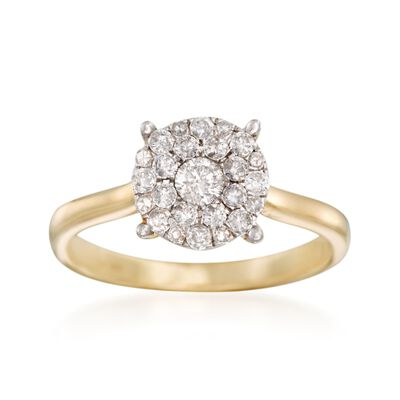 .50 ct. t.w. Pave Diamond Cluster Ring in 14kt Yellow Gold