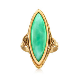 C. 1970 Vintage Marquise Green Glass Ring in 18kt Yellow Gold. Size 5, , default