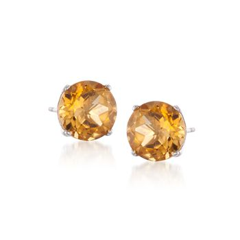 3.30 ct. t.w. Citrine Stud Earrings in 14kt White Gold, , default