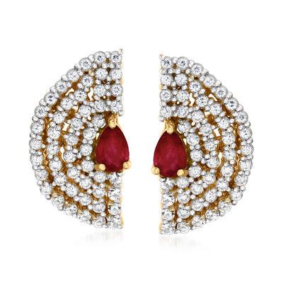 1.82 ct. t.w. White Zircon and .80 ct. t.w. Ruby Fan Stud Earrings in 18kt Gold Over Sterling