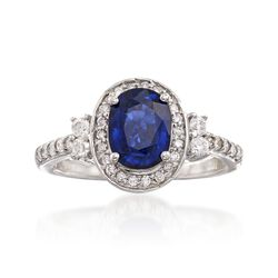 1.60 Carat Sapphire and .40 ct. t.w. Diamond Halo Ring in 14kt White Gold, , default