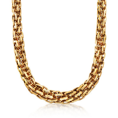 C. 1980 Vintage Bulgari Tapered Link Necklace in 18kt Yellow Gold