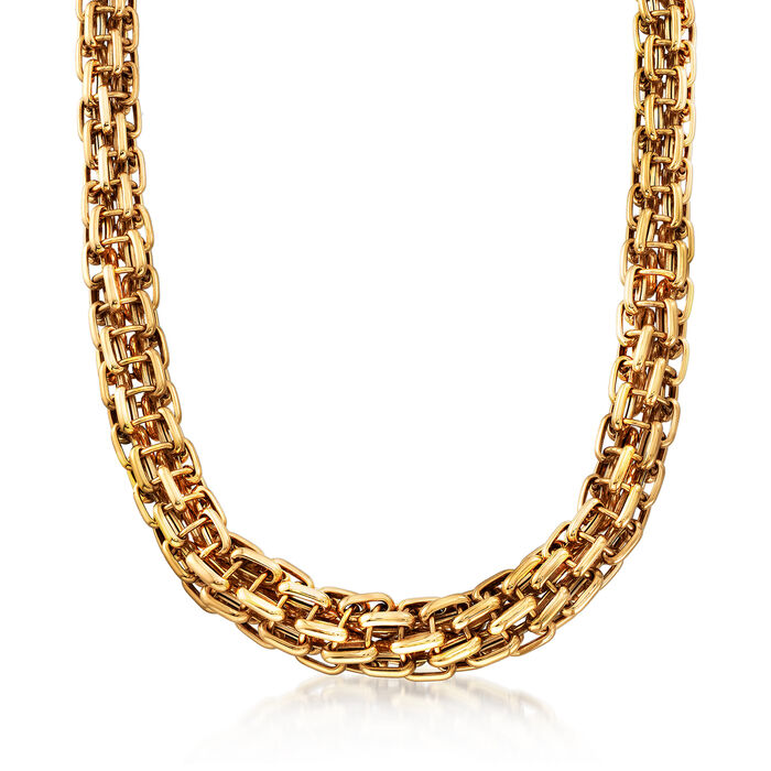 """C. 1980 Vintage Bulgari Tapered Link Necklace in 18kt Yellow Gold. 17"""""""