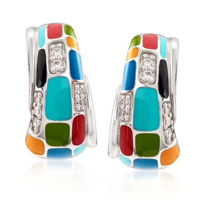 "Belle Etoile ""Mosaica"" Multicolored Enamel and .33 ct. t.w. CZ Half-Hoop Earrings in Sterling Silver, , default"