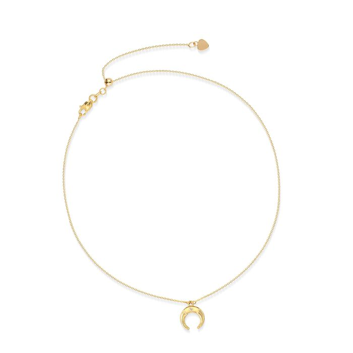 14kt Yellow Gold Moon Choker Necklace with Diamond Accent , , default