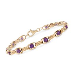 3.00 ct. t.w. Amethyst Oval-Link Bracelet in 14kt Yellow Gold, , default