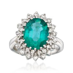 3.90 Carat Emerald and .90 ct. t.w. Diamond Burst Ring in 14kt White Gold, , default