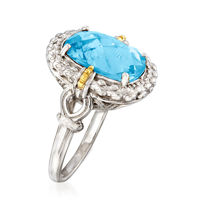 """Phillip Gavriel """"Popcorn"""" 6.00 Carat Blue Topaz Ring in Sterling Silver with 18kt Yellow Gold"""