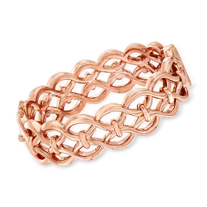 14kt Rose Gold Double-Link Bangle Bracelet, , default