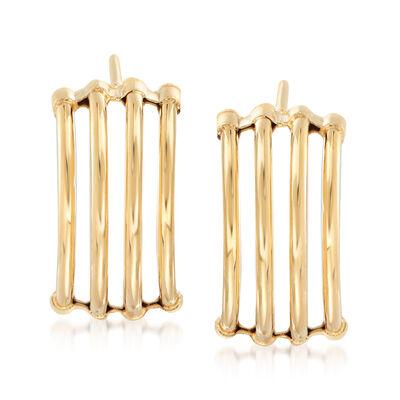 Italian Multi-Row Open-Space Earrings in 14kt Yellow Gold