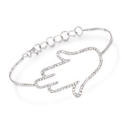 1.00 ct. t.w. Diamond Open Hamsa Bracelet in 18kt White Gold, , default