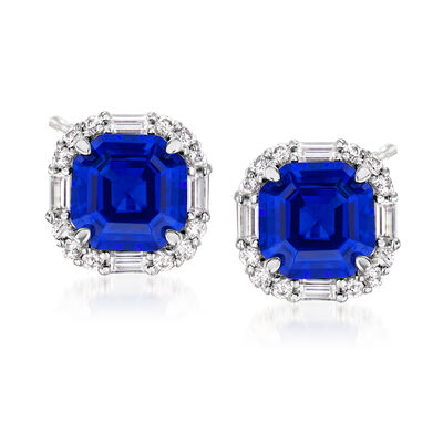 6.00 ct. t.w. Simulated Sapphire and .90 ct. t.w. CZ Earrings in Sterling Silver, , default