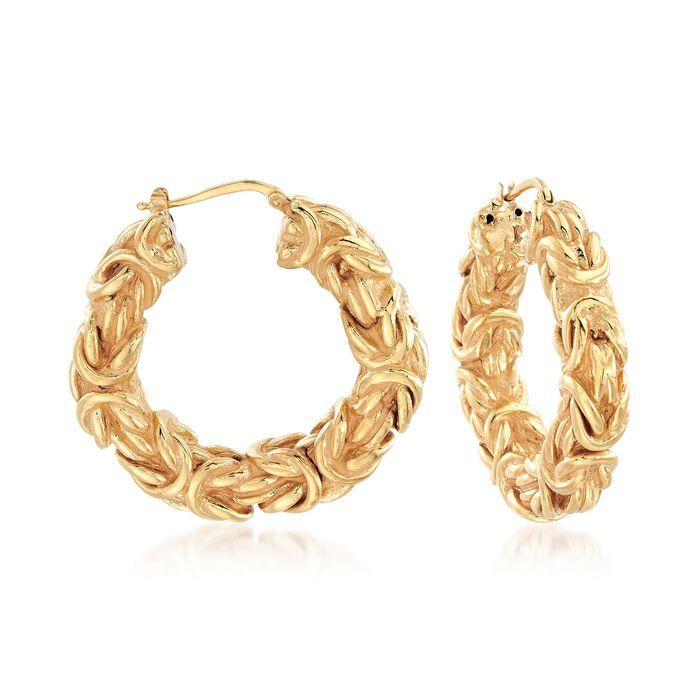 """Italian 18kt Yellow Gold Byzantine Hoop Earrings. 1 1/2"""", , default"""