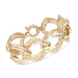 Italian 14kt Yellow Gold Tartan Cut-Out Link Bracelet, , default