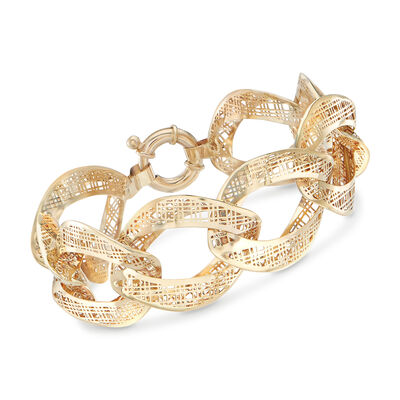 Italian 14kt Yellow Gold Tartan Cut-Out Link Bracelet, , default