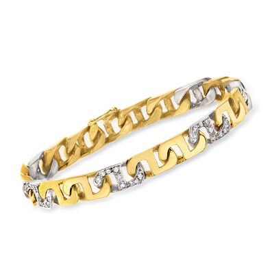 C. 1990 Vintage .75 ct. t.w. Diamond Link Bracelet in 14kt Two-Tone Gold