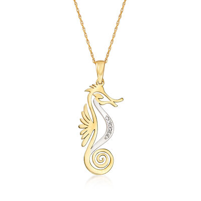 14kt Yellow Gold Cut-Out Seahorse Pendant Necklace with Diamond Accents