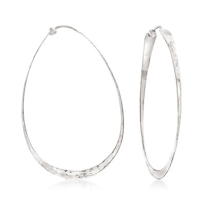 14kt White Gold Hammered and Polished Oval Hoop Earrings, , default