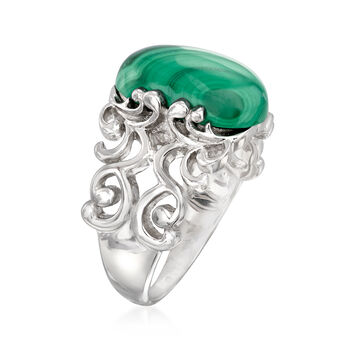 Cabochon Malachite Ring in Sterling Silver