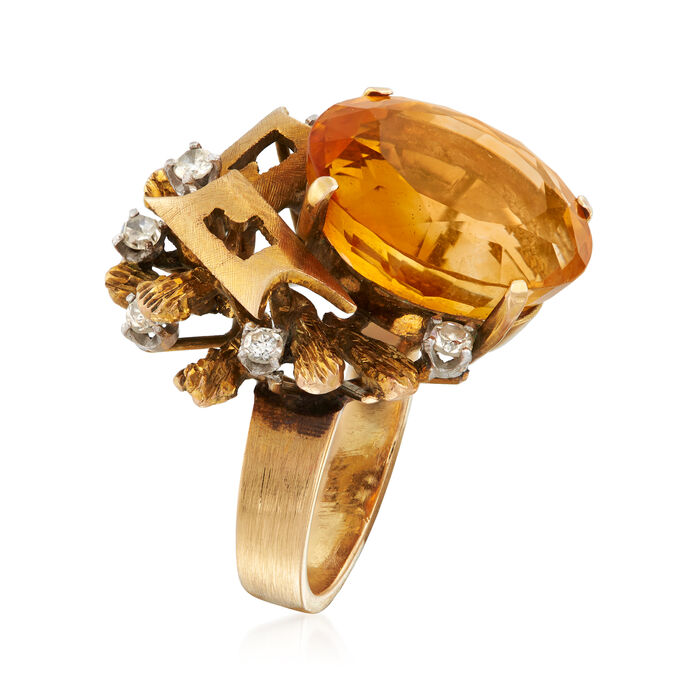 C. 1960 Vintage 9.30 Carat Citrine and .25 ct. t.w. Diamond Geometric-Style Ring in 14kt Yellow Gold