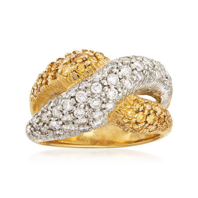 C. 1990 Vintage 1.75 ct. t.w. Yellow and White Diamond Crossover Ring in 14kt Two-Tone Gold, , default