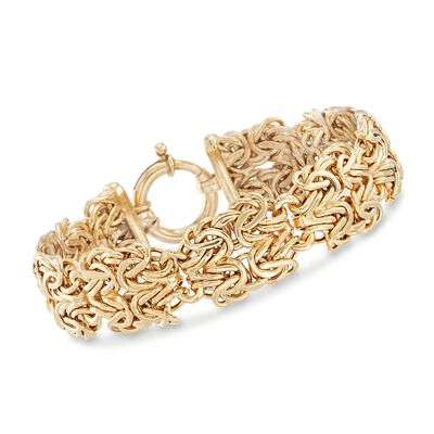 18kt Gold Over Sterling Silver Double-Byzantine Link Bracelet, , default