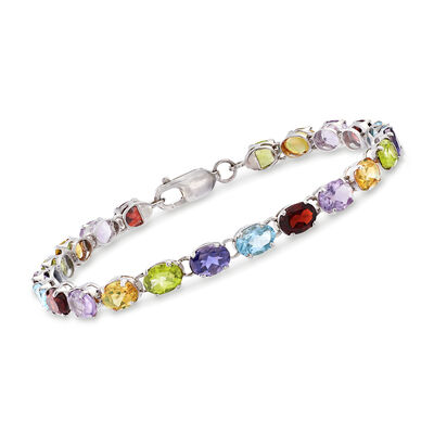 16.00 ct. t.w. Multi-Stone Link Bracelet in Sterling Silver