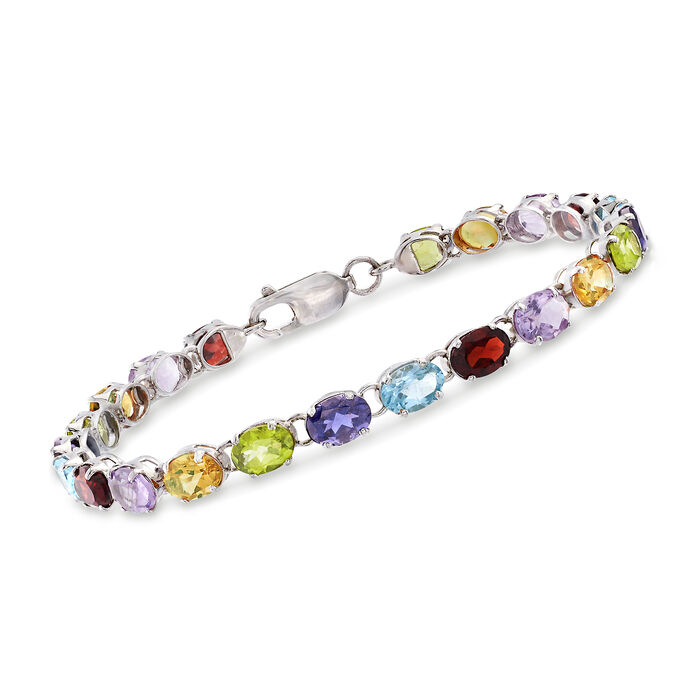 16.00 ct. t.w. Multi-Stone Link Bracelet in Sterling Silver, , default