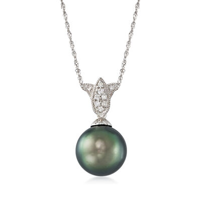 11mm Black Tahitian Pearl Tulip Necklace in 14kt White Gold, , default