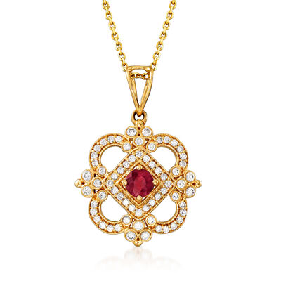 C. 1990 Vintage .40 Carat Ruby and .47 ct. t.w. Diamond Pendant Necklace in 18kt Yellow Gold