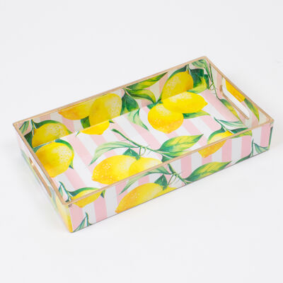 Pink Striped Lemon-Print Rectangular Tray, , default