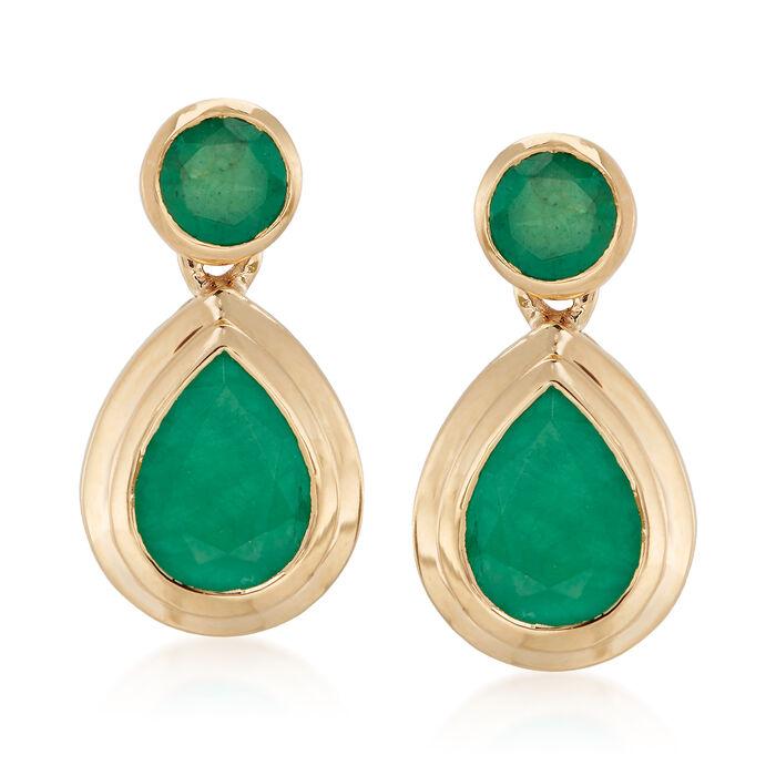 2.40 ct. t.w. Emerald Drop Earrings in 14kt Yellow Gold, , default