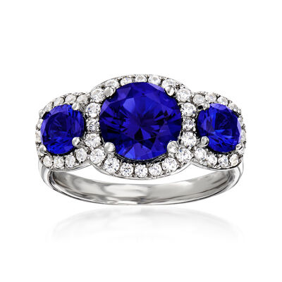 2.84 ct. t.w. Simulated Sapphire and .45 ct. t.w. CZ Three-Stone Ring in Sterling Silver