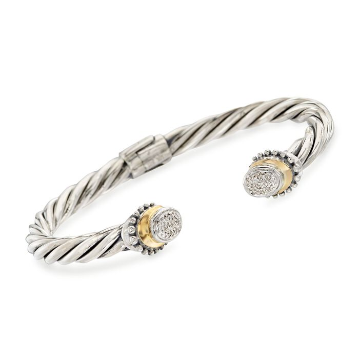 "Sterling Silver Cable Cuff Bracelet with 18kt Yellow Gold and Diamond Accents. 7"", , default"