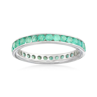 1.05 ct. t.w. Emerald Eternity Ring in Sterling Silver, , default