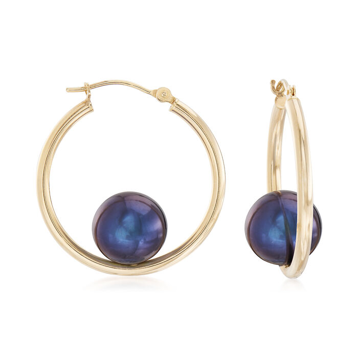 "10-10.5mm Black Cultured Pearl Hoop Earrings in 14kt Yellow Gold. 1"", , default"