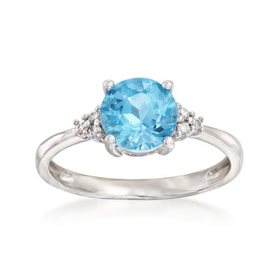 1.65 Carat Blue Topaz Ring with Diamond Accents in 14kt White Gold, , default