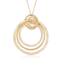 "Andiamo 14kt Yellow Gold Multi-Circle Pendant Necklace. 18"", , default"