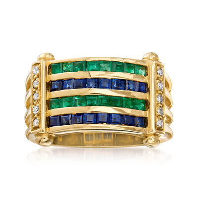 C. 1980 Vintage 1.30 ct. t.w. Sapphire, 1.10 ct. t.w. Emerald and .14 ct. t.w. Diamond Multi-Row Ring in 18kt Yellow Gold