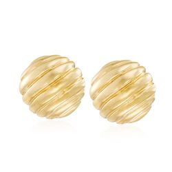 Italian 18kt Yellow Gold Ribbed Dome Earrings, , default
