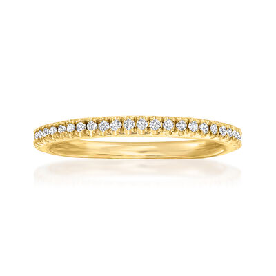 Henri Daussi .15 ct. t.w. Pave Diamond Wedding Ring in 14kt Yellow Gold
