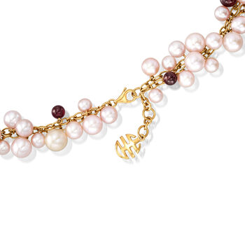C. 1980 Vintage Mimi Milano 5.5-8.5mm Multicolored Cultured Pearl and 5.3-6.5mm Garnet Bead Necklace in 18kt Yellow Gold. 14.5""