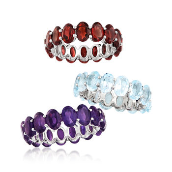Multi-Gemstone Jewelry Set: Three Rings in Sterling Silver