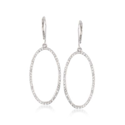 1.10 ct. t.w. Diamond Open Oval Drop Earrings in 14kt White Gold, , default