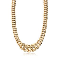 """Italian 18kt Yellow Gold Graduated Double Link Necklace. 20.5"""", , default"""