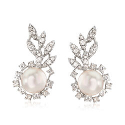 C. 1960 Vintage 9mm Cultured Pearl and 1.55 ct. t.w. Diamond Cluster Earrings in 18kt White Gold , , default