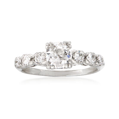 C. 1950 Vintage 1.15 ct. t.w. Diamond Engagement Ring in Platinum, , default