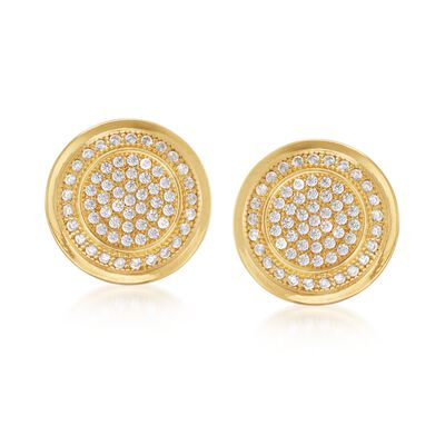 .60 ct. t.w. CZ Stud Earrings in 18kt Yellow Gold Over Sterling, , default